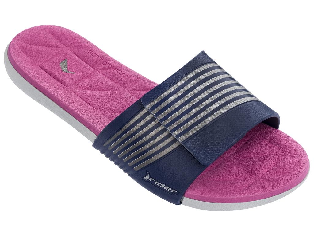 Шлепанцы женские Rider Prana Fem, цвет: серый, синий, розовый. 82206-24106. Размер 39 (38)82206-24106Модный слайд в спортивном стиле, невероятно комфортный, с регулируемым верхом на липучке и ультра-мягкой стелькой Soft Dry Foam.