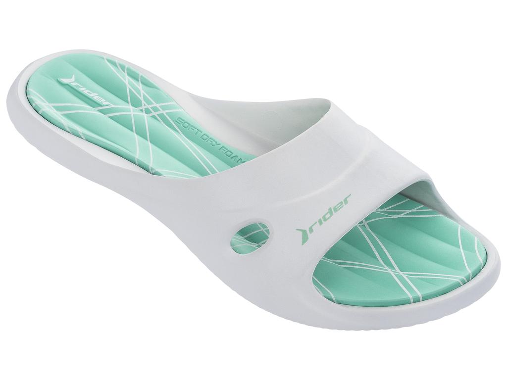Шлепанцы женские Rider Slide Feet VII Fem, цвет: белый, бирюзовый. 82214-20804. Размер 41/42 (40/41)82214-20804Геометрическая текстура стельки EVA, верх с дренажными отверстиями и подошвой Flexpand. Верх литой с подошвой.