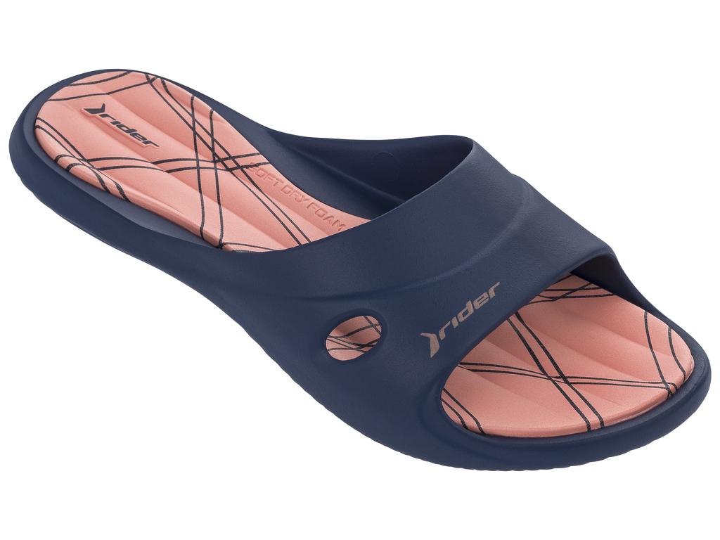 Шлепанцы женские Rider Slide Feet VII Fem, цвет: синий, оранжевый. 82214-20771. Размер 41/42 (40/41)82214-20771Геометрическая текстура стельки EVA, верх с дренажными отверстиями и подошвой Flexpand. Верх литой с подошвой.