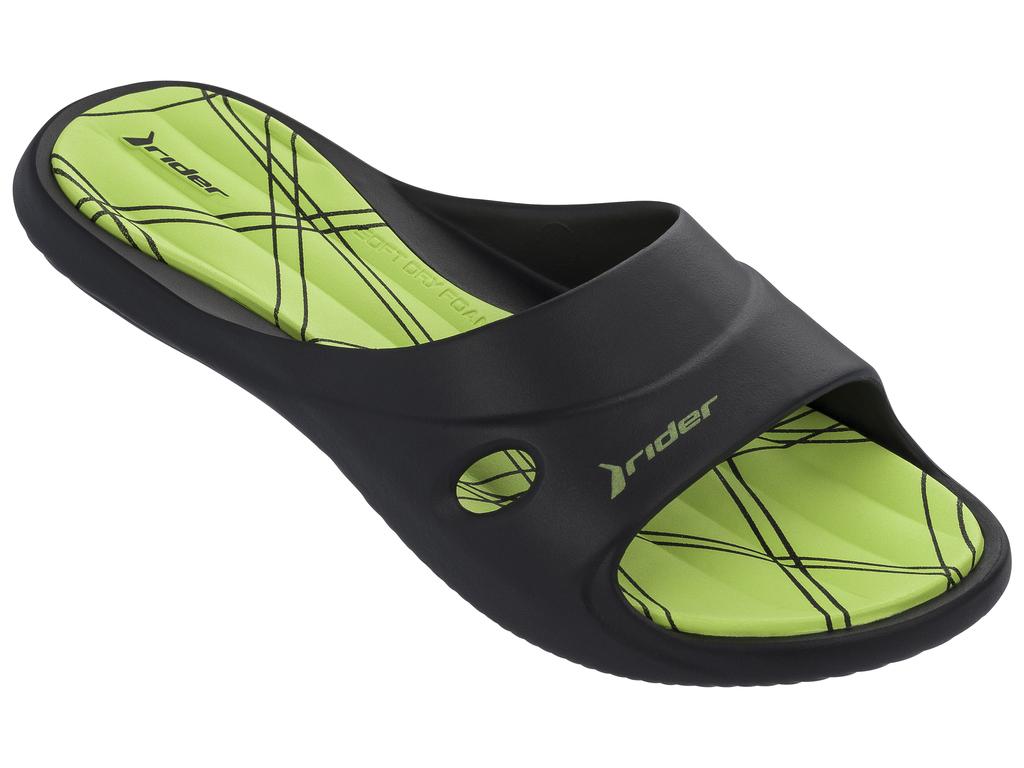 Шлепанцы женские Rider Slide Feet VII Fem, цвет: черный, зеленый. 82214-20534. Размер 39 (38)82214-20534Геометрическая текстура стельки EVA, верх с дренажными отверстиями и подошвой Flexpand. Верх литой с подошвой.