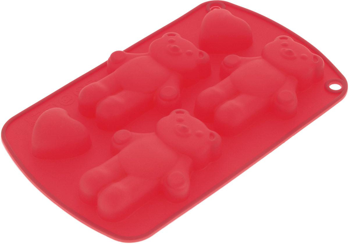 Форма для выпечки Доляна Мишки с сердцами, цвет: красный, 21 х 13 х 1,5 см, 5 ячеек123144_красныйФорма для выпечки Доляна Мишки с сердцами выполнена из силикона. Форма для выпечки из силикона - современное решение для практичных и радушных хозяек. Оригинальныйпредмет позволяет готовить в духовке любимые блюда.Блюдо в силиконовой форме сохраняет нужную форму и легко отделяется от стенок после приготовления.Высокая термостойкость (от -40 до +230°С) позволяет применять форму в духовых шкафах и морозильных камерах;небольшая масса делает эксплуатацию предмета простой; силикон пригоден для посудомоечных машин;высокопрочный материал делает форму долговечным инструментом; при хранении предмет занимает мало места. Перед извлечением блюда из силиконовой формы дайте ему немного остыть, осторожно отогните края предмета. Размер формы: 21 х 13 х 1,5 см.