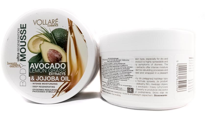 Verona Products Professional Vollare Cosmetics Крем-мусс для тела с экстрактами Авокадо, лимонной травы и маслом жожоба Регенирация, 250 г990889Мусс для тела Vollare Cosmetics предназначено для ухода за всеми типами кожи, особенно сухой и чувствительной. Благодаря инновационной формуле продукт очень хорошо растирается на коже и оставляет нежную пленку, устраняя симптомы пересушивания. Уникальные свойства экстрактов авокадо и лимонной травы интенсивно увлажняют и глубоко регенерируют кожу. Содержащееся в продукте масло жожоба стимулирует процессы восстановления эпидермиса и успокаивает раздражения. Кожа становится укрепленной, длительно увлажненной и окутанной чувственным ароматом.