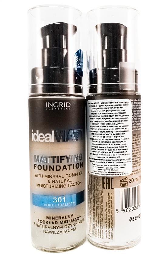 Verona Products Professional Ingrid Cosmetics Крем-пудра, Тон №301, цвет: светло-бежевый, 30 мл991036Ideal Matt Ingrid – это минеральная крем-пудра, сочетающая эффект идеально матовой кожи с ее превосходным увлажнением. Исключительная формула на основе натуральных компонентов поглощает избыток кожного жира и контролирует его выделение. Mineral Complex эффективно разглаживает кожу, стимулирует ее обновление, а также защищает от свободных радикалов. Натуральный увлажняющий фактор создает защитный слой, который предотвращает потерю воды, защищая кожу от высушивания. Современные пигменты выравнивают колорит и эффективно скрывают несовершенства, не обременяя при этом кожу. Легкая, бархатистая консистенция не закупоривает поры и позволяет коже свободно дышать. Крем-пудра помогает сделать макияж матовым и завершенным. Уменьшает блеск кожи. Рекомендуется для каждого типа кожи, особенно смешанной и жирной. Содержит SPF.
