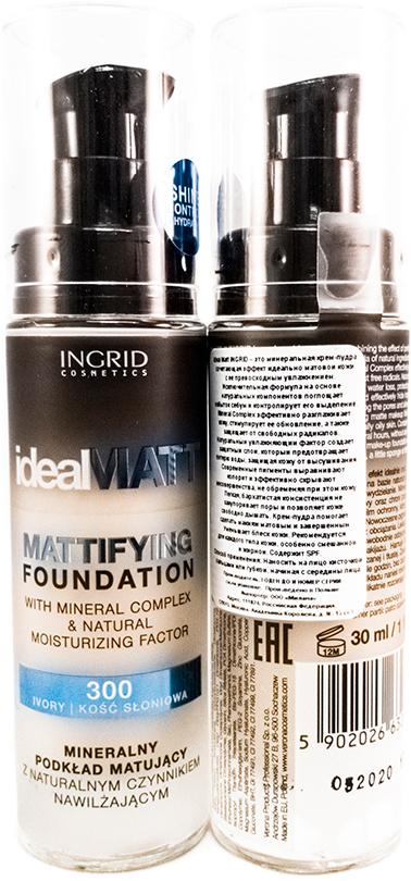 Verona Products Professional Ingrid Cosmetics Крем-пудра, Тон №300, цвет: светло-бежевый, 30 мл991038Ideal Matt Ingrid – это минеральная крем-пудра, сочетающая эффект идеально матовой кожи с ее превосходным увлажнением. Исключительная формула на основе натуральных компонентов поглощает избыток кожного жира и контролирует его выделение. Mineral Complex эффективно разглаживает кожу, стимулирует ее обновление, а также защищает от свободных радикалов. Натуральный увлажняющий фактор создает защитный слой, который предотвращает потерю воды, защищая кожу от высушивания. Современные пигменты выравнивают колорит и эффективно скрывают несовершенства, не обременяя при этом кожу. Легкая, бархатистая консистенция не закупоривает поры и позволяет коже свободно дышать. Крем-пудра помогает сделать макияж матовым и завершенным. Уменьшает блеск кожи. Рекомендуется для каждого типа кожи, особенно смешанной и жирной. Содержит SPF.