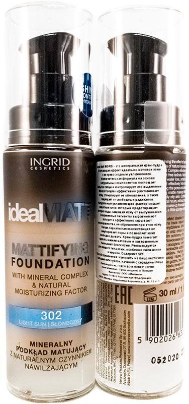 Verona Products Professional Ingrid Cosmetics Крем-пудра, Тон №302, цвет: бежевый, 30 мл991039Ideal Matt Ingrid – это минеральная крем-пудра, сочетающая эффект идеально матовой кожи с ее превосходным увлажнением. Исключительная формула на основе натуральных компонентов поглощает избыток кожного жира и контролирует его выделение. Mineral Complex эффективно разглаживает кожу, стимулирует ее обновление, а также защищает от свободных радикалов. Натуральный увлажняющий фактор создает защитный слой, который предотвращает потерю воды, защищая кожу от высушивания. Современные пигменты выравнивают колорит и эффективно скрывают несовершенства, не обременяя при этом кожу. Легкая, бархатистая консистенция не закупоривает поры и позволяет коже свободно дышать. Крем-пудра помогает сделать макияж матовым и завершенным. Уменьшает блеск кожи. Рекомендуется для каждого типа кожи, особенно смешанной и жирной. Содержит SPF.