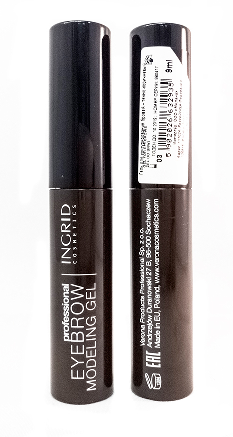 Verona Products Professional Ingrid Cosmetics Гель для бровей, цвет: темно-коричневый, 9 мл991110Гель для моделирования Eyebrow Modeling Gel Ingrid быстро и легко подчеркивает брови, придавая им идеальную форму. Быстросохнущая, кремовая формула заметно сгущает волоски и выравнивает их цвет. Продукт доступен в 3 оттенках: светло-коричневый (для блондинок и рыжеволосых), темно-коричневый (для шатенок и брюнеток), а также в прозрачной версии исключительно для стилизации бровей.