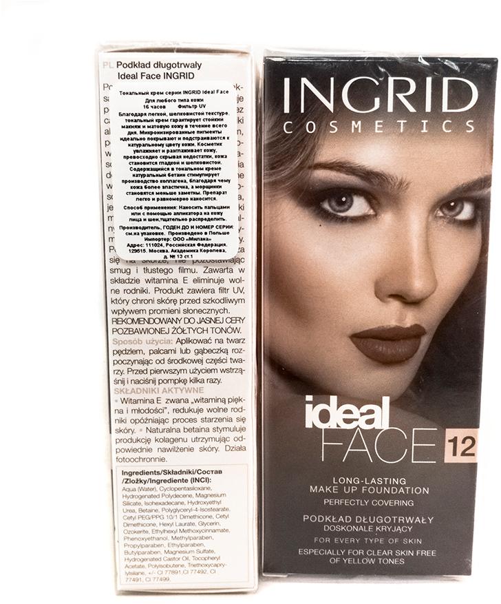 Verona Products Professional Ingrid Cosmetics Тональный крем, Тон №12, цвет: бежевый, 35 мл991201Необыкновенно деликатный тональный крем IDEAL FACE Ingrid идеально увлажняет и разглаживает кожу. Благодаря легкой текстуре идеально наносится, выравнивает тон кожи, скрывая покраснения и несовершенства. Придает коже мягкость, эластичность и интенсивно увлажняет, благодаря чему макияж выглядит свежим в течении долгого времени. Микронизированные пигменты обеспечивают отличное покрытие и идеально подходят к цвету кожи. В составе тонального крема содержится ингредиент, который продлевает длительность макияжа, соответственно увлажняет и разглаживает. Бетаин стимулирует выработку коллагена, поэтому кожа становится эластичной, шелковисто - гладкой и бархатистой. Тонкие линии и морщины стaновятся менее заметными. УФ-фильтр защищает от вредного воздействия солнечных лучей. Благодаря легкой текстуре идеально наносится, выравнивает тон кожи, скрывая покраснения и несовершенства. Придает коже мягкость, эластичность и интенсивно увлажняет, благодаря чему макияж выглядит свежим в течении долгого времени. Микронизированные пигменты обеспечивают отличное покрытие и идеально подходят к цвету кожи. В составе тонального крема содержится ингредиент, который продлевает длительность макияжа, соответственно увлажняет и разглаживает. Бетаин стимулирует выработку коллагена, поэтому кожа становится эластичной, шелковисто - гладкой и бархатистой. Тонкие линии и морщины становятся менее заметными. УФ-фильтр защищает от вредного воздействия солнечных лучей.