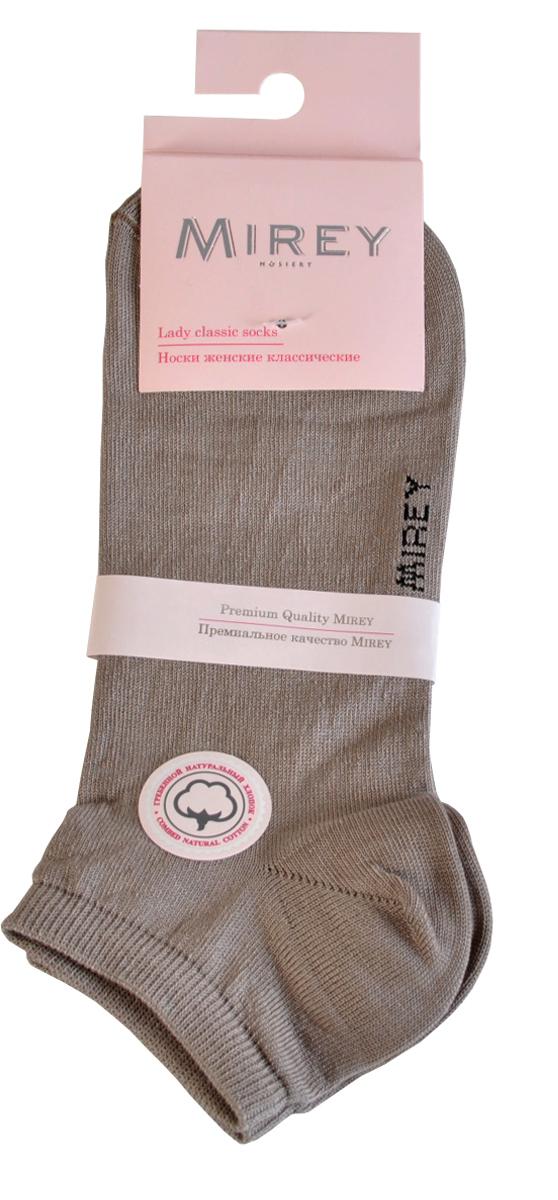 Носки женские Mirey, цвет: светло-серый. MSC 009. Размер (35/37)MSC 009Короткие женские носки от Mirey выполнены из мерсеризованного хлопка.Усиленный мысок и пятка, двойная резинка, плоский шов.