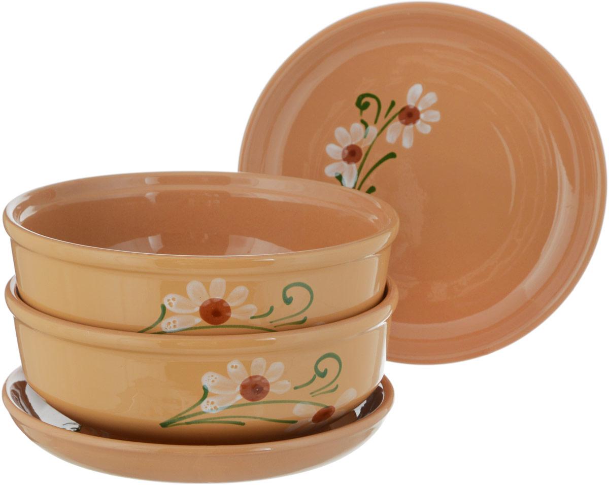 Набор мисок Борисовская керамика Русский, 4 шт. ОБЧ00000035 alparaisa набор из 2 блюд в форме розы 00003l 2 st алая роза