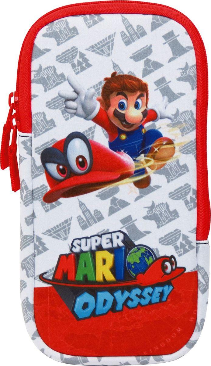 Hori Набор аксессуаров Mario Odyssey Nintendo Switch NSW-073UHR28• Официально лицензировано Nintendo • Компактный чехол • Отдельный дополнительный чехол для картриджей • Накладки на грибки стиков в стиле Mарио • 2 накладки на Joy-Con в стиле Mарио