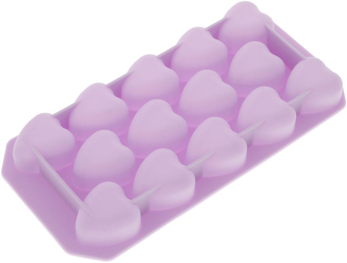 """Форма Marmiton """"Сердечки"""" выполнена из силикона и  предназначена для приготовления выпечки, мармелада и льда. На одном листе  расположено 14 ячеек в виде сердец. Благодаря тому, что форма изготовлена из  силикона, готовый десерт вынимать легко и просто.   Материал устойчив к фруктовым кислотам, к  воздействию низких и высоких температур. Не взаимодействует с продуктами питания и не впитывает запахи. Силикон абсолютно безвреден для здоровья. Чтобы достать лед, эту форму не нужно  держать под теплой водой или использовать нож.  В комплект входит брошюра с рецептами.  Можно мыть в посудомоечной машине. Общий размер формы: 21,5 см х 11 см х 2,5 см.  Количество ячеек: 14 шт. Размер ячеек: 3,5 см х 3,5 см х 2 см."""