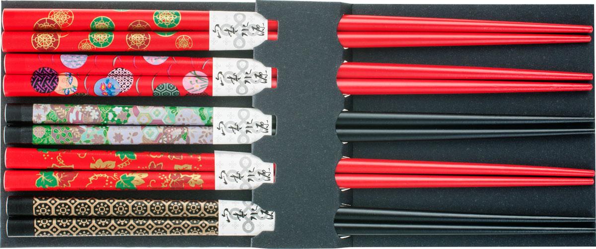 Палочки бамбуковые, цвет: красный, черный, 10 шт40311Набор, выполненный из бамбука, идеален в качестве подарка любителям восточной кухни. В комплекте 5 наборов палочек. Данный набор идеально подойдет для грамотной и красивой сервировки стола.