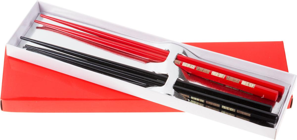 Палочки бамбуковые, цвет: красный, черный, 4 шт