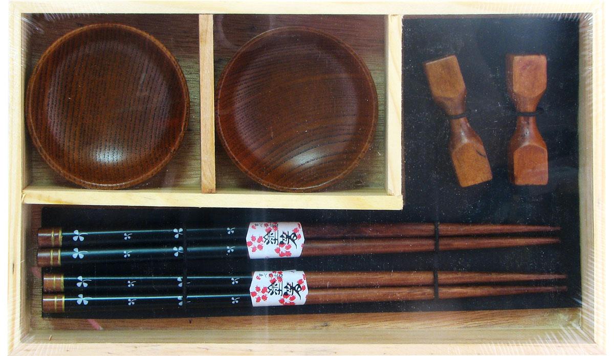 Набор для суши, цвет: коричневый, 6 предметов. 40344 набор для суши цвет красный черный коричневый 10 предметов