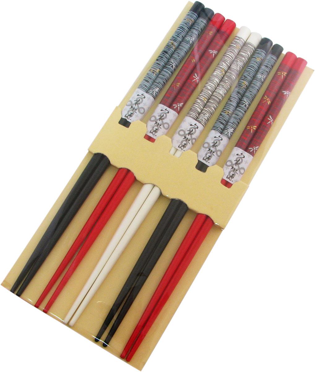 Палочки бамбуковые, цвет: белый, красный, черный, 10 шт40354Набор, выполненный из бамбука, идеален в качестве подарка любителям восточной кухни. В комплекте 5 наборов палочек. Данный набор идеально подойдет для грамотной и красивой сервировки стола.