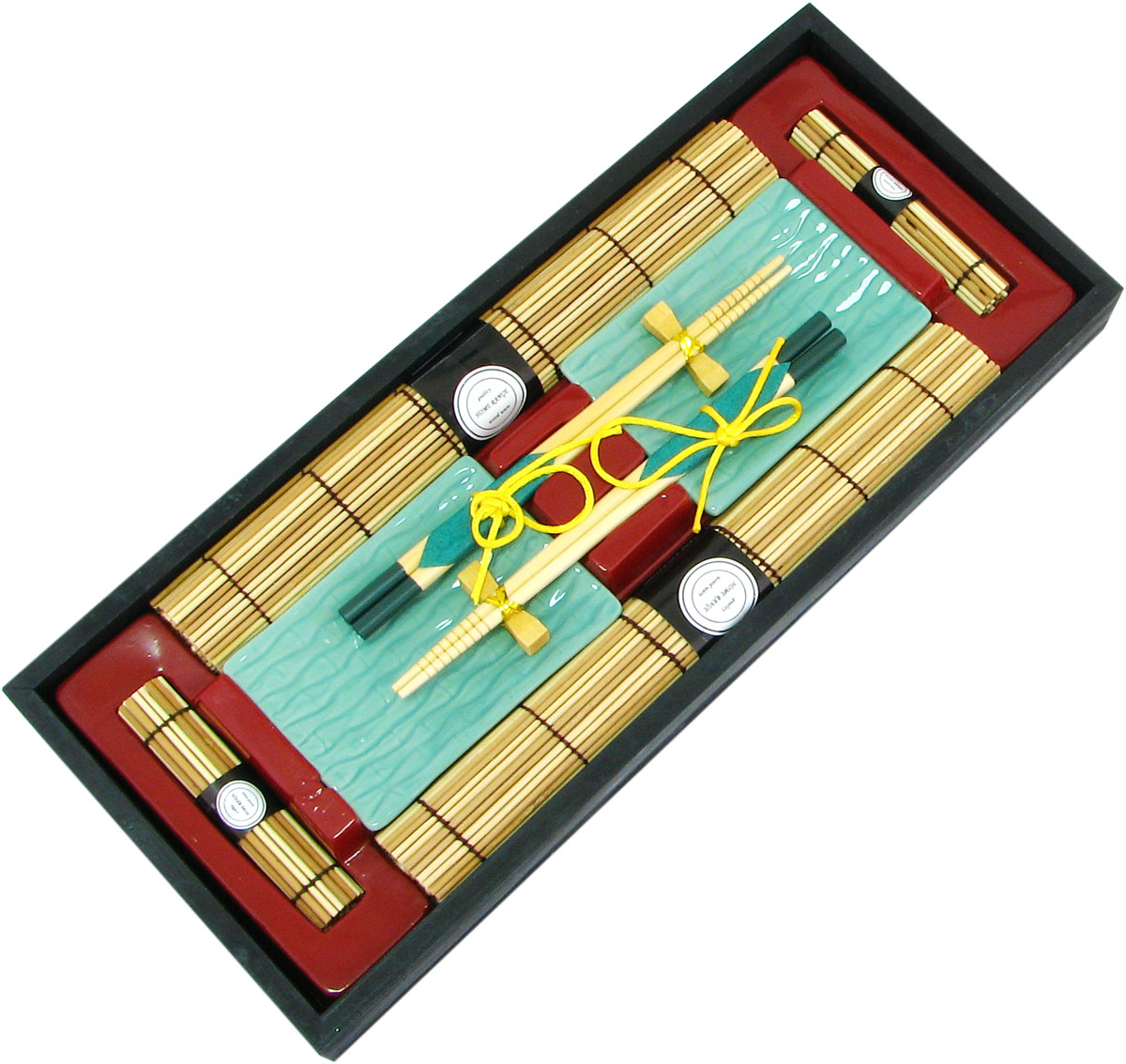 Набор для суши, цвет: бирюзовый, бежевый, 10 предметов набор для суши цвет красный черный коричневый 10 предметов