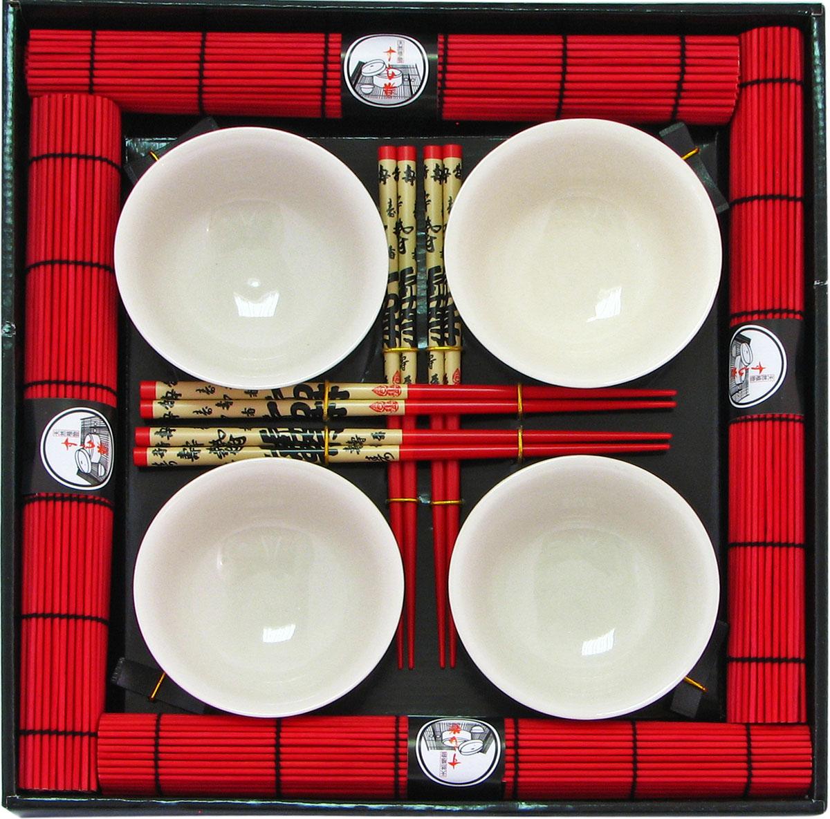 Набор для суши, цвет: белый, красный, 16 предметов40407Набор для суши,выполненный из керамики и бамбука, идеален в качествеподарка любителям восточной кухни. Вкомплекте 4 пиалы, 4 пары палочек, 4 подставки под палочки, 4 бамбуковых циновки.Данный набор идеально подойдет для грамотнойи красивой сервировки стола.