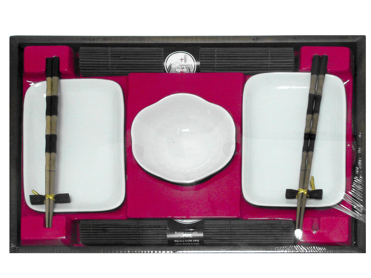 Набор для суши, цвет: белый, коричневый, 9 предметов набор для суши цвет красный черный коричневый 10 предметов