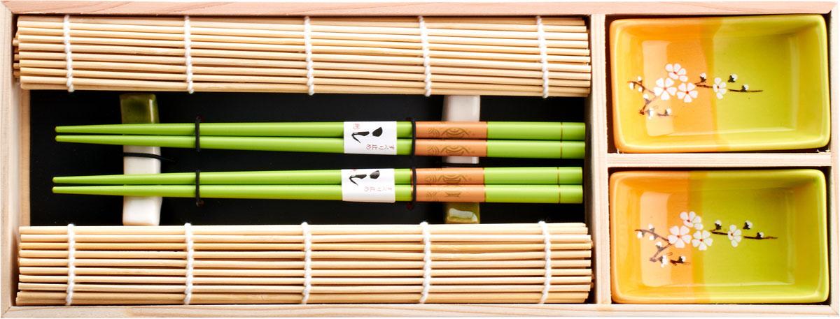 Набор для суши, цвет: зеленый, оранжевый, желтый, 8 предметов набор для суши цвет красный черный коричневый 10 предметов