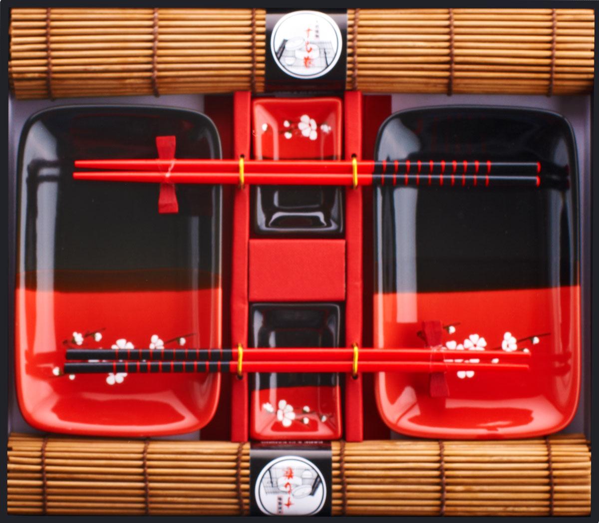Набор для суши, цвет: красный, черный, коричневый, 10 предметов40433Набор для суши,выполненный из керамики и бамбука, идеален в качествеподарка любителям восточной кухни. Вкомплекте два блюда, две пиалы для соуса, дваковрика, две подставки для палочек, два набора палочек.Данный набор идеально подойдет для грамотнойи красивой сервировки стола.