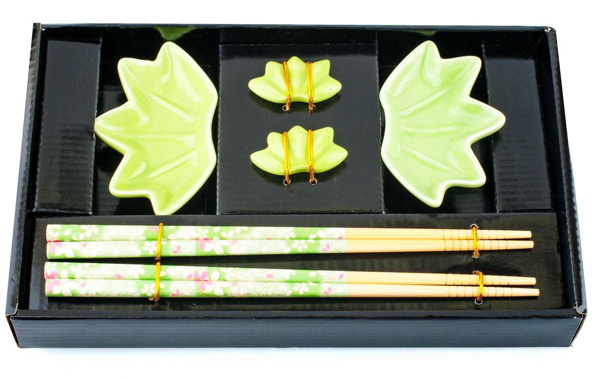 Набор для суши, цвет: зеленый, 6 предметов набор палочек для суши на 5 персон 25 11 2см уп 1 100наб