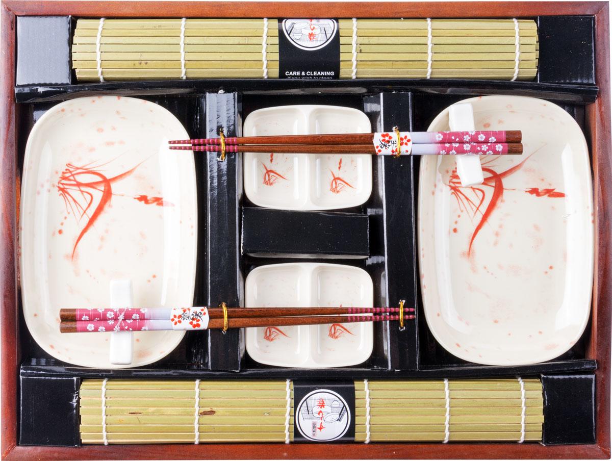 Набор для суши, цвет: белый, коричневый, 10 предметов набор для суши цвет красный черный коричневый 10 предметов