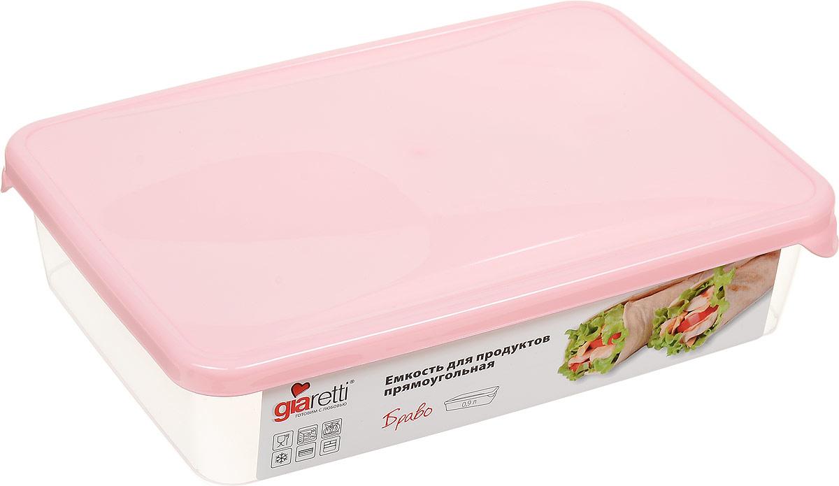 Емкость для продуктов Giaretti Браво, цвет: прозрачный, розовый, 0,9 лGR1034_розовыйЕмкость для продуктов Giaretti Браво изготовлена из пищевогополипропилена. Крышкаплотно закрывается, дольше сохраняя продукты свежими. Боковые стенкипрозрачные, чтопозволяет видеть содержимое.Емкость идеально подходит для храненияпищи, фруктов,ягод, овощей.Такая емкость пригодится в любом хозяйстве.