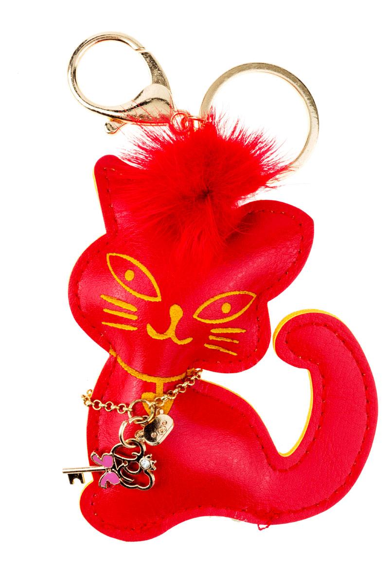 Брелок Кошка, цвет: красныйМеталлСтильный и практичный аксессуар, который можно использовать в разных целях, послужит достойным украшением вашей сумочки, одежды илиключей. Брелок в виде кошечки выполнен из искусственной кожи. На кошечке расположена декоративная подвеска в виде ключика.Крепится брелок при помощи прочного кольца и карабина, гарантирующих сохранность прикрепленных к брелоку ключей и самого брелока.Размер - 10 х 6 см.