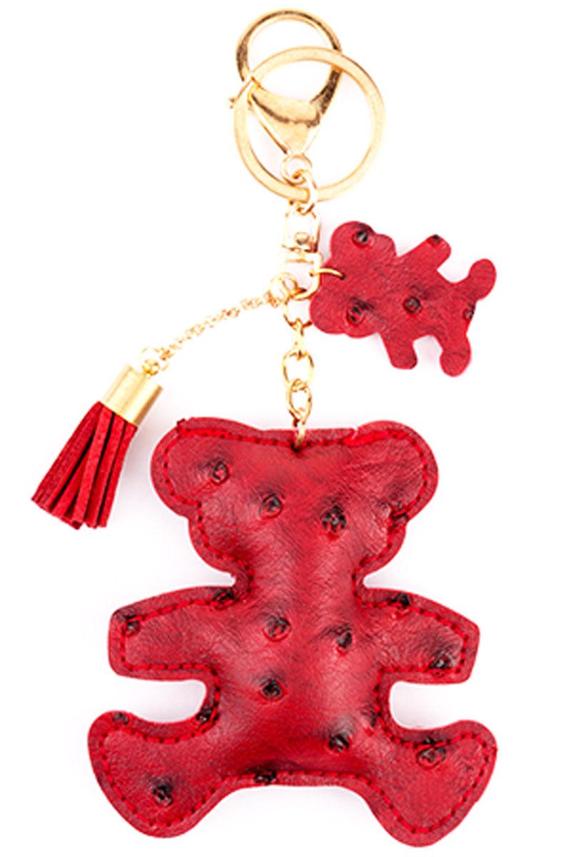 Брелок Медвежонок, цвет: бордовыйМеталлСтильный и практичный аксессуар, который можно использовать в разных целях, послужит достойным украшением вашей сумочки, одежды илиключей. Брелок в виде медвежонка выполнен из искусственной кожи.Крепится брелок при помощи прочного кольца и карабина, гарантирующих сохранность прикрепленных к брелоку ключей и самого брелока.Размер - 8 х 8 см.