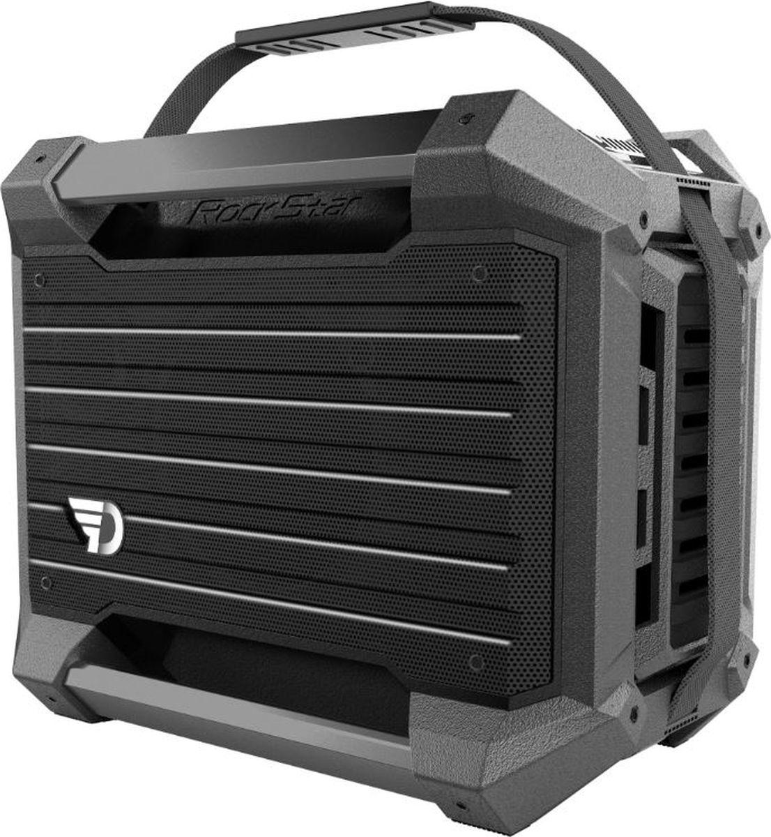 DreamWave Rockstar, Graphite портативная акустическая система15119105DreamWave RockStar – это невероятно прочная Bluetooth-аудиосистема, обладающая выходной мощностью в 80 Вт и поддержкой технологии aptX, профессионально настроенная и созданная специально для ценителей звучания высокого качества. Вместе с RockStar вы сможете наслаждаться музыкой от заката до рассвета благодаря встроенному аккумулятору ёмкостью более чем 26 тысяч мАч. ОПИСАНИЕ СПЕЦИФИКАЦИЯDreamWave RockStar – это невероятно прочная Bluetooth-аудиосистема, обладающая выходной мощностью в 80 Вт и поддержкой технологии aptX, профессионально настроенная и созданная специально для ценителей звучания высокого качества. Вместе с RockStar вы сможете наслаждаться музыкой от заката до рассвета благодаря встроенному аккумулятору ёмкостью более чем 26 тысяч мАч.Благодаря сочетанию передовых технологий и тончайших настроек звука, RockStar способен передать музыку во всей полноте, сохраняя её первозданную глубину и ясность – так, как это задумывал исполнитель. Также устройство оснащено 8 аудиовходами для подключения различных музыкальных инструментов и микрофона. Надежная конструкция, защита от воды/песка/пыли/снега уровня IPX5 и компактный дизайн позволят вам брать RockStar с собой, куда бы вы ни отправились, а также организовать вечеринку независимо от того, где вы находитесь. - Премиальная Hi-Fi-колонка с мощностью 80 Вт - Поддерживает технологию aptX - Защита от воды/песка/пыли уровня IPX5 - Звук Hi-Fi, защита от помех - Bluetooth CSR 4.0 + EDR, A2DP AVRCP - Аккумулятор 26000 мАч - Работает до 12 часов подряд - Режимы звуковых эффектов: 11 предустановлено + 11 пользовательских - 8 аудио-входов для различных музыкальных инструментов: микрофон, электро- и акустическая гитара, барабаны, бас-гитара и миди-клавиатура - Звук Hi-Fi, защита от помех