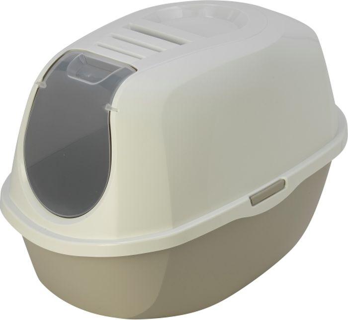 """Туалет закрытый для кошек Moderna """"Smart Cat"""", цвет: светло-серый, 53 x 41 x 39 см"""