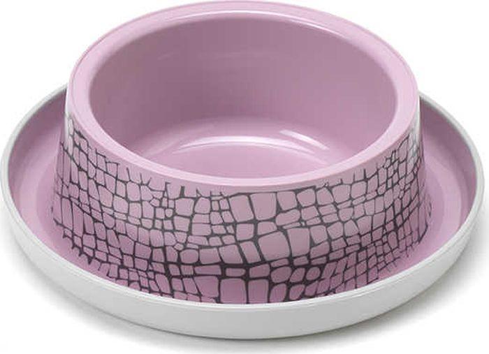 Миска для животных Moderna Trendy Dinner. Дикая природа, цвет: розовый, 17 x 5,3 см