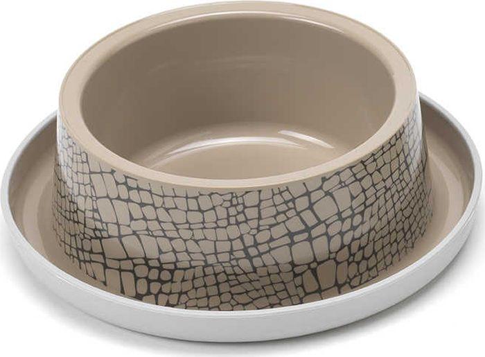 Миска для животных Moderna Trendy Dinner. Дикая природа, цвет: бежевый, 20 x 6,4 см миска moderna smarty bowl с антискольжением цвет бордовый 19 х 7 см