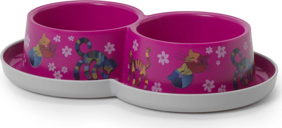 "Миска для животных Moderna ""Trendy Dinner. Друзья навсегда"", двойная, цвет: ярко-розовый, 27 x 16,5 x 6 см"