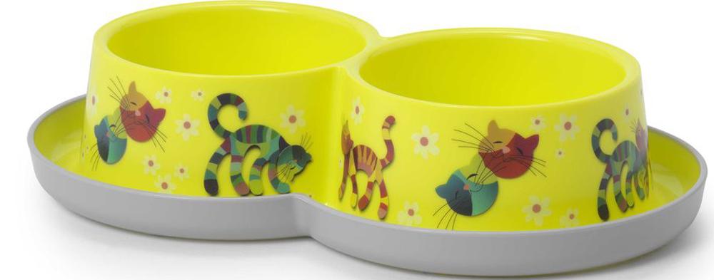 Миска для животных Moderna Trendy Dinner. Друзья навсегда, двойная, цвет: лимонный, 27 x 16,5 x 6 см туалет moderna trendy cat домик для кошек с рисунком друзья навсегда 50 39 37