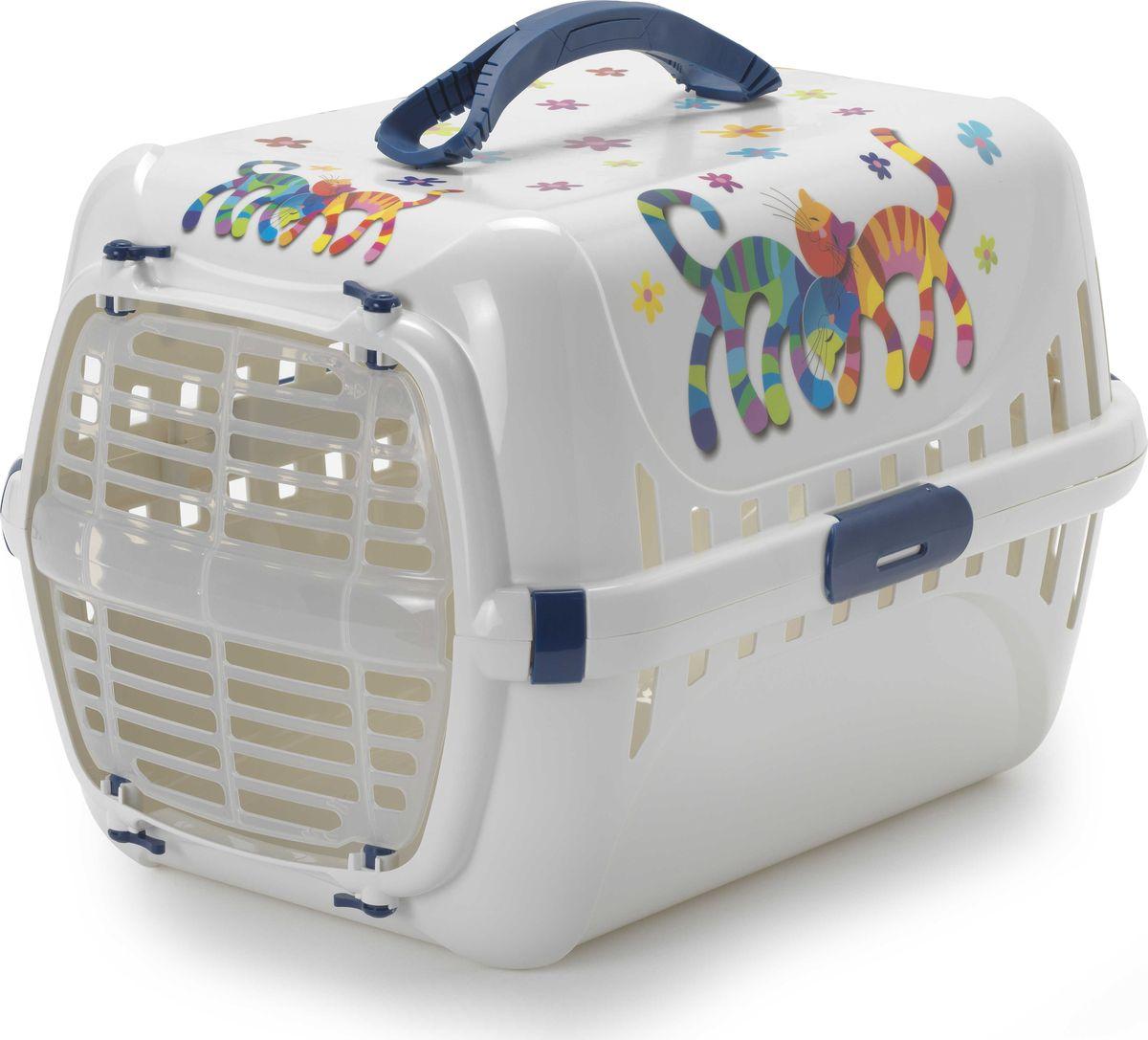 Переноска для животных Moderna Trendy Runner. Друзья навсегда, цвет: черничный, 51 x 31 x 34 см туалет moderna trendy cat домик для кошек с рисунком друзья навсегда 50 39 37