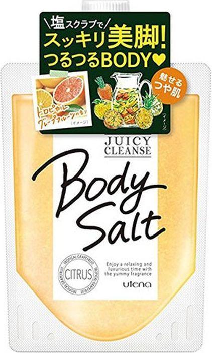 Utena Juicy Cleanse Скраб для тела с ароматом тропического грейфрута, 300 г394414Скраб для тела на основе соли делает кожу светлой, гладкой и идеальной чистой. Натуральные мелкие гранулы соли устраняют старые ороговевшие клетки кожи, очищают поры и убирают излишний кожный жир. После применения скраба на Вашей коже остаётся бодрящий аромат грейпфрута. Экстракты лимона, грейпфрута, женьшеня и арганового масла поддерживают кожу в увлажненном состоянии даже после приема ванны.