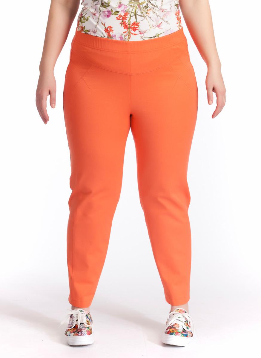 Брюки женские Averi, цвет: оранжевый. 1220. Размер 60 (64)1220Зауженные укороченные брюки Averi выполнены из хлопка с добавлением эластана, не имеют застежки. Узкие вертикальные рельефы на передних половинках брюк зрительно стройнят ноги. Подрезные кокетки спереди и сзади, как и рельефы, подчеркнуты декоративной двойной отстрочкой. Цельнокроеный пояс с эластичной тесьмой-резинкой обеспечивает легкий утягивающий эффект. Базовая модель и насыщенный цвет позволяют составить множество комбинаций на любой случай.