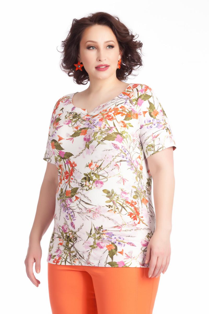 Блузка женская Averi, цвет: белый, оранжевый, оливковый. 1236. Размер 64 (68) блузка женская averi цвет голубой 1440 размер 50 52