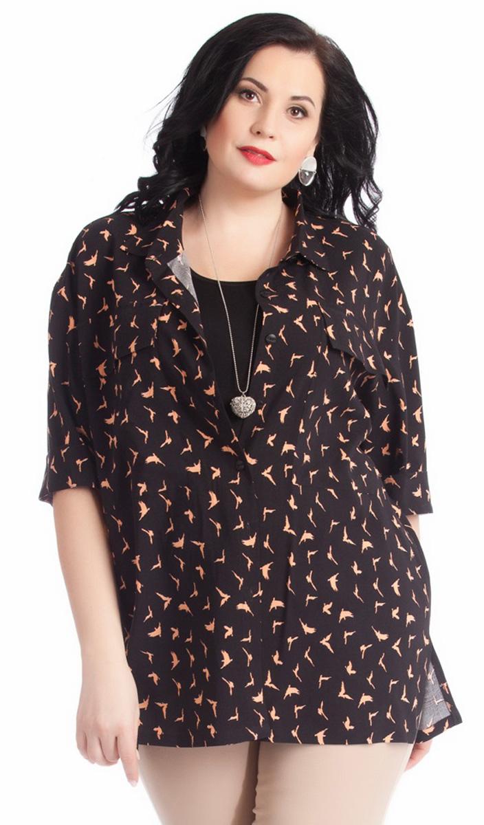 Блузка женская Averi, цвет: черный, бежевый. 1267. Размер 64 (68) блузка женская averi цвет голубой 1440 размер 50 52