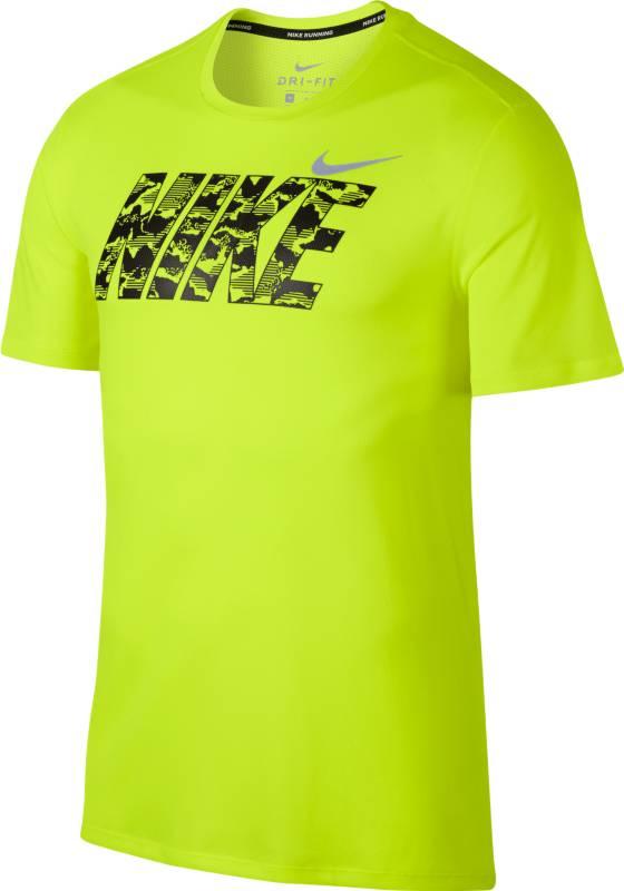 Футболка мужская Nike BRTHE Run Top SS GX, цвет: желтый. 891788-702. Размер M (46/48)891788-702
