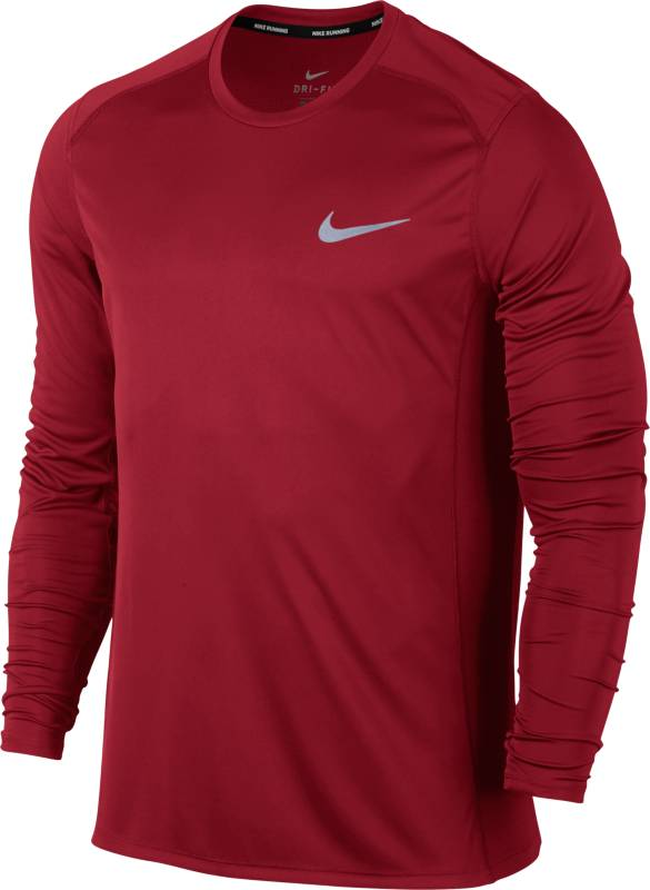 Лонгслив мужской Nike Dry Miler Running Top, цвет: бордовый. 833593-687. Размер XL (52/54) nike original new arrival mens running shoes air max modern light quick dry low top for men 844874 402 844887 005