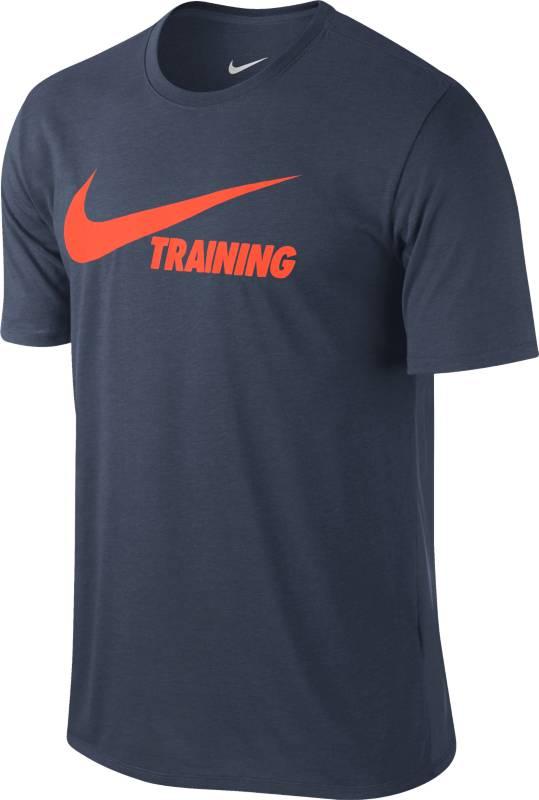Футболка мужская Nike Training Swoosh Tee, цвет: темно-синий. 777358-472. Размер XL (52/54)777358-472Мужская футболка Nike Training Swoosh из прочной ткани Dri-FIT обеспечивает вентиляцию и комфорт. Модель с короткими рукавами и круглым вырезом горловины на груди оформлена принтованной надписью.