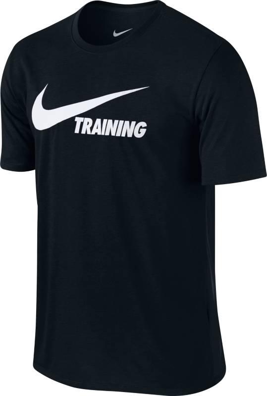 Футболка мужская Nike Training Swoosh Tee, цвет: черный. 777358-011. Размер M (46/48)777358-011Мужская футболка Nike Training Swoosh из прочной ткани Dri-FIT обеспечивает вентиляцию и комфорт. Модель с короткими рукавами и круглым вырезом горловины на груди оформлена принтованной надписью.