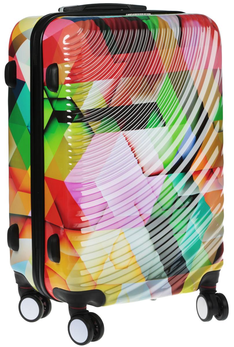 Чемодан Everluck, цвет: мультиколор, 53 лER/PC1882 60 cmСуперлегкий пластиковый чемодан Everluck. Материал ABS- пластик максимально устойчив кдеформации. Кроме того, он обладает повышенной гибкостью, что позволяет материалу неломаться и не трескаться при внешних нагрузках. Чемодан отлично подходит для перевозкихрупких вещей. Пластик отлично защищает внутреннее содержание от любых внешнихвоздействий.Поликарбонат - это полимерный пластик. Обладает высокой прочностью, малым весом, устойчив к низкимтемпературам.Чемодан с четырьмя колесами на основании, вращающимися на 360 градусов, маневренный иудобный в обращении. Можно просто выдвинуть ручку и катить его рядом с собой в любомнаправлении, при этом не будет никакой нагрузки на кисть, что очень важно, если чемодан у васбольшой и тяжелый.Выдвижная ручка (выдвигается в два сложения на 45 см). Внутри: портплед, карман из сетки намолнии, фиксатор с зажимом для ваших вещей. Дополнительный карман для вещей и карман- сетка, закрываются на молнию.Чемодан оснащен кодовым замком TSA, который исключаетвозможность взлома. Отверстие для ключа в кодовом замке предназначено для работниковтаможни (открытие багажа для досмотра без присутствия хозяина). Ключ находится только утаможни и в комплекте с чемоданом не идет.Размер: 60 х 40 х 26 см.Высота ручек: 45 см. Объем 53 л.