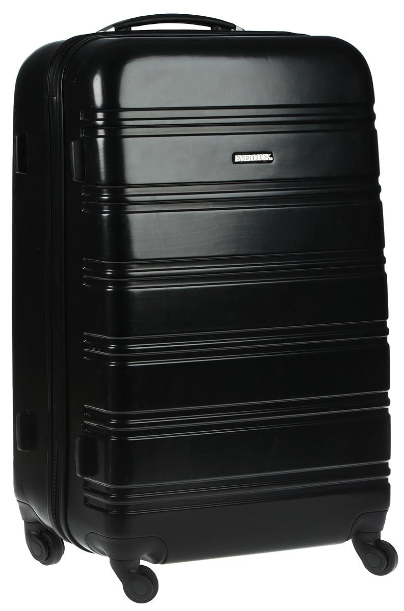 Чемодан Everluck, цвет: черный, 68 х 45 х 26 смER/PC1876 68 cmСуперлегкий пластиковый чемодан Everluck. Материал ABS- пластик максимально устойчив кдеформации. Кроме того, он обладает повышенной гибкостью, что позволяет материалу неломаться и не трескаться при внешних нагрузках. Чемодан отлично подходит для перевозкихрупких вещей. Пластик отлично защищает внутреннее содержание от любых внешнихвоздействий.Поликарбонат - это полимерный пластик. Обладает высокой прочностью, малым весом, устойчив к низкимтемпературам.Чемодан с четырьмя колесами на основании, вращающимися на 360 градусов, маневренный иудобный в обращении. Можно просто выдвинуть ручку и катить его рядом с собой в любомнаправлении, при этом не будет никакой нагрузки на кисть, что очень важно, если чемодан у васбольшой и тяжелый.Выдвижная ручка (выдвигается в два сложения на 35 см). Внутри: портплед, карман из сетки намолнии, фиксатор с зажимом для ваших вещей. Дополнительный карман для вещей и карман- сетка, закрываются на молнию.Также предусмотрен кодовый замок, который расположен свнешней стороны боковой стенки.Размер: 68 х 45 х 26 см.