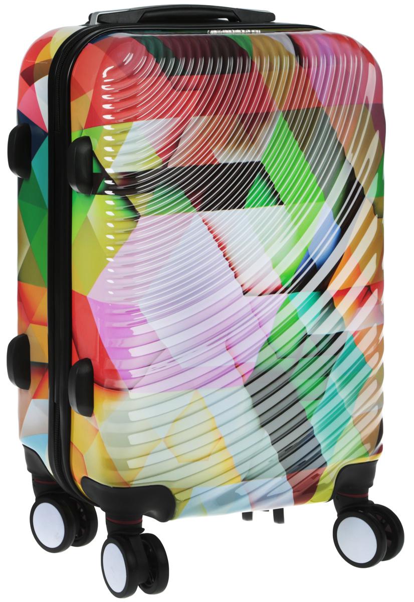 Чемодан Everluck, цвет: мультиколор, 50 х 35 х 22 смER/PC1882 50 cmСуперлегкий пластиковый чемодан Everluck. Материал ABS- пластик максимально устойчив кдеформации. Кроме того, он обладает повышенной гибкостью, что позволяет материалу неломаться и не трескаться при внешних нагрузках. Чемодан отлично подходит для перевозкихрупких вещей. Пластик отлично защищает внутреннее содержание от любых внешнихвоздействий.Чемодан с четырьмя колесами на основании, вращающимися на 360 градусов, маневренный иудобный в обращении. Можно просто выдвинуть ручку и катить его рядом с собой в любомнаправлении, при этом не будет никакой нагрузки на кисть, что очень важно, если чемодан у васбольшой и тяжелый.Выдвижная ручка (выдвигается в два сложения на 50 см). Внутри: портплед, карман из сетки намолнии, фиксатор с зажимом для ваших вещей. Дополнительный карман для вещей и карман- сетка, закрываются на молнию. Чемодан оснащен кодовым замком TSA, который исключаетвозможность взлома. Отверстие для ключа в кодовом замке предназначено для работниковтаможни (открытие багажа для досмотра без присутствия хозяина). Ключ находится только утаможни и в комплекте с чемоданом не идет.Размер: 50 х 35 х 22 см.
