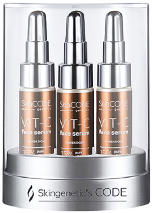 Skingenetics CODE Интенсивная высококонцентрированная сыворотка с витамином С VIT-C Face Serum, 42 мл2000000004280Интенсивная высококонцентрированная сыворотка с витамином С (15%) активно омолаживает, подтягивает, питает и увлажняет кожу, обеспечивая пролонгированный эффект ревитализации. Осветляет пигментные пятна, защищает от фотостарения и неблагоприятного воздействия факторов окружающей среды. 15% инкапсулированный в липосомы витамин С активирует клеточное дыхание, эффективен против купероза, восстанавливает поврежденную кожу после пилингов, косметических операций на лице и длительного пребывания на солнце. Комплекс Celldetox - оказывает антиоксидантное и иммуномодулирующее действие, придает коже сияние и жизненную силу. Комплекс Instensyl - природный биополимер, пролонгированный лифтинг эффект, уменьшает количество и глубину морщин. Упаковка из 6 ампул по 7 мл.