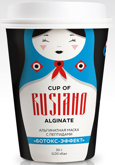 Cup of Rusiano Alginate Альгинатная маска с пептидами Ботокс-эффект, 30 г4665302250018Маска состоит из набора, в который входит: альгинатная маска в пакетике (порошок), шапочка для фиксации волос, спатула для нанесения маски на лицо. Альгинатная маска с пептидами повышает упругость кожи, разглаживает мимические морщинки, подтягивает овал лица, сужает поры, убирает покраснения и раздражения кожи. Применение: Развести порошок в количестве 30 мл в 90 мл воды температурой не выше 20 градусов. Перемешать до консистенции густой сметаны и быстро нанести слоем толщиной 2-3 мм на лицо. Через 15-20 минут снять маску одним движением снизу вверх. Рекомендуется курсовое применение (10-15 масок), три раза в неделю.