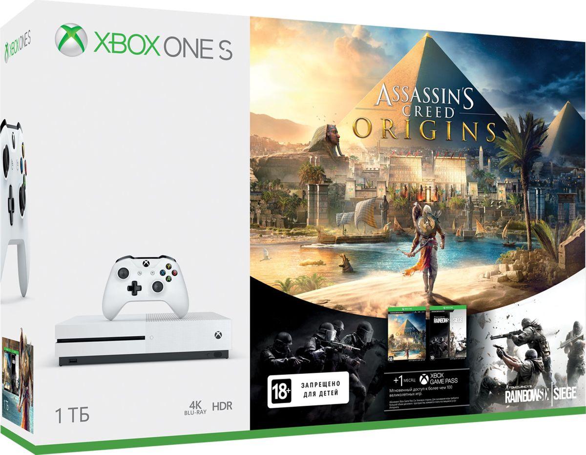 Игровая приставка Xbox One S 1 ТБ + Assassins Creed Origins + Карточка Steep + Crew код4600974021665Консоль Xbox One S с жестким диском на 1 ТБ. Лучший выбор для игр и развлечений в формате 4K. Самое лучшее решение для игр и развлечений. Xbox One S поддерживает более 100 эксклюзивных игр, встроенный плеер 4K Ultra HD Blu-ray и потоковое 4K-видео. Assassin's Creed® Origins — это новое начало. Научись сражаться по-новому в процессе исследования Великих пирамид и заброшенных гробниц на территории Древнего Египта. Переживи невероятные и запоминающиеся приключения на протяжении своего пути и узнай историю возникновения Гильдии ассасинов. Раскройте тайны Древнего Египта и узнайте, как было создано Братство ассасинов. НОВЫЕ ТЕРРИТОРИИ Воды Нила, таинственные пирамиды, дикие животные и беспощадные противники. НОВЫЕ ИСТОРИИ Многочисленные задания, захватывающие истории и колоритные персонажи - от аристократов до нищих. ЭКШН-RPG Новая механика боя, разнообразное оружие, проработанная система прогресса и уникальные боссы. Комплектация:• Белая консоль Xbox One S с жестким диском на 1 ТБ. • Белый беспроводной геймпад с разъемом 3,5 мм и Bluetooth• Код на загрузку игры ASSASSINS CREED ORIGINS• Код на загрузку игры Steep• 1 месяц Xbox Game Pass• 14 дней пробная подписка Xbox Live Gold• HDMI кабель• шнур питания• Инструкция STEEP Описание игры: Катайтесь в огромном открытом мире альпийских склонов, где снег всегда свежий, а трассы бесконечны. Покорите дикие земли Америки в бесплатном расширении «Аляска»: откройте новые горы и новые испытания!Это ваши горы. Пристегнитесь, надевайте костюм и вперед! — СТРЕМИТЕСЬ ВПЕРЕД — Покорите величайшие горы мира на лыжах, сноуборде, параплане или в вингсьюте.— ПОЛУЧИТЕ НЕЗАБЫВАЕМЫЕ ВПЕЧАТЛЕНИЯ ВМЕСТЕ С ДРУГИМИ ИГРОКАМИ — Катайтесь в одиночку или присоединитесь к другим игрокам во время захватывающих адреналиновых заездов.— ГОРЫ ЖДУТ ВАС — Проложите свой собственный маршрут в огромном открытом мире Альп и поделитесь им с друзьями.— ИСПЫТАЙТЕ СВОИ